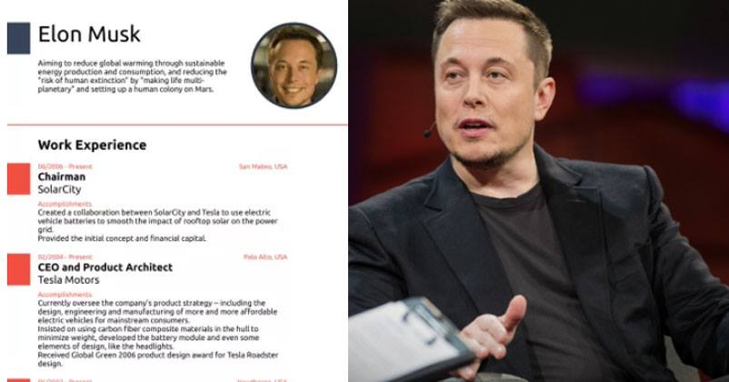 this one-page elon musk resume will give you cv writing goals
